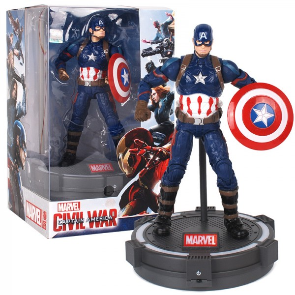 Marvel Avengers 3 action figure 7 inches doll with illuminated platform mount display